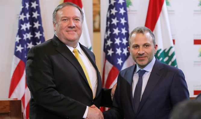 US Secretary of State Mike Pompeo with Lebanese Foreign Minister Gebran Bassil