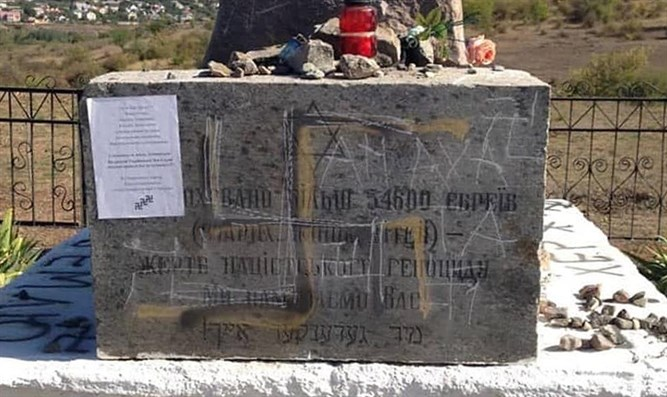 Vandalized monument to Holocaust victims in Bogdanovka, Ukraine