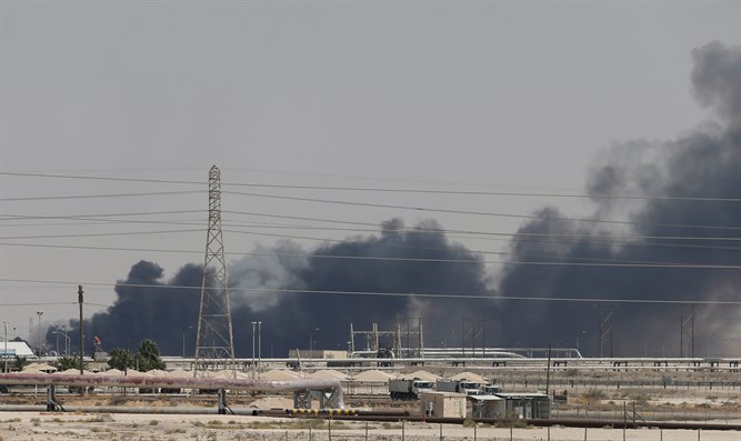Fire at Aramco oil facility in Abqaiq, Saudi Arabia, September 14, 2019.