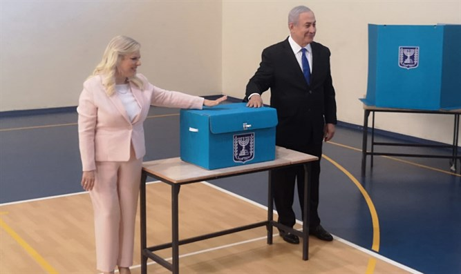 Binyamin and Sara Netanyahu vote in Jerusalem