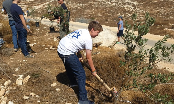Ari Fuld's son plants a tree in his father's memory