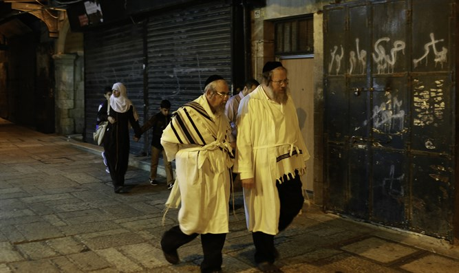 Jews walking on Yom Kippur (illustrative)