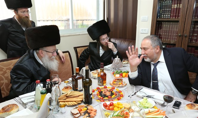 Litzman hosts Liberman at former's granchild's wedding feast