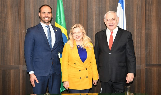 Eduardo Bolsonaro with the Netanyahus