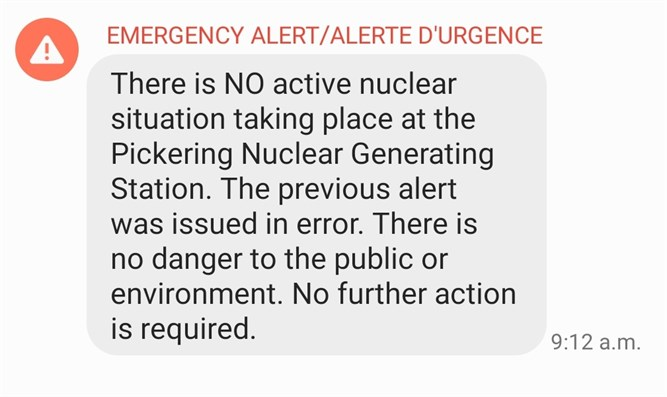 Message which appeared on cellular phones in Ontario, January 12, 2020