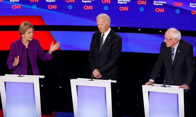Warren, Biden and Sanders at Democratic debate, January 14, 2020
