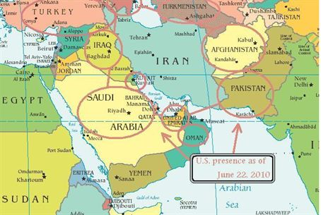 Iran And Surrounding Countries Map US Troops Ring Iran   Israel National News