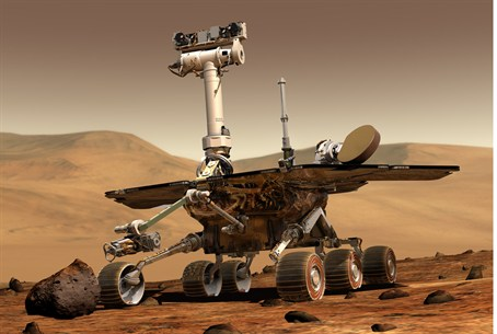 Artist's rendering of a rover on Mars