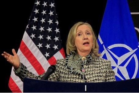 Hillary Clinton at press conference at NATO