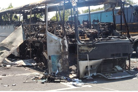 A bus that was damaged in the Burgas terror a