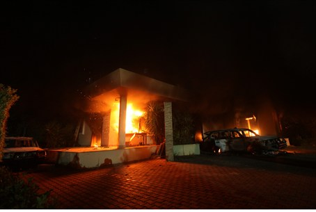The U.S. Consulate in Benghazi is seen in fla