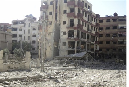 Aftermath of Syrian Air Force strike on Duma
