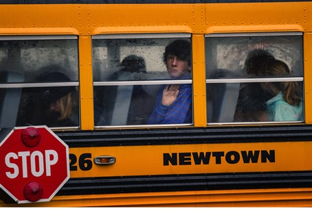Children on Newtown school bus