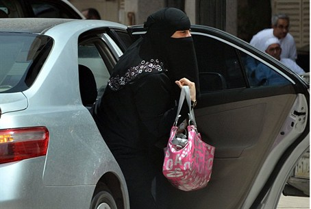 Saudi woman gets out of car