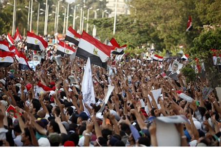 Morsi supporters gather outside a Republican