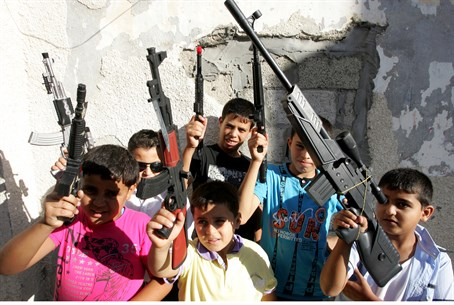 Culture of violence? Palestinian Arab children play with toy guns