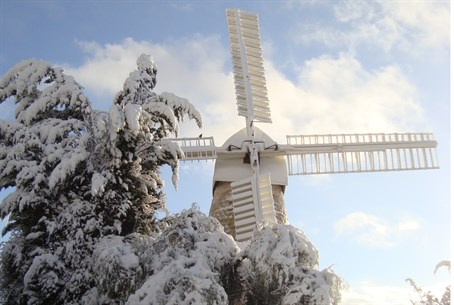 Snow in Jerusalem - Montefiore's Windmill