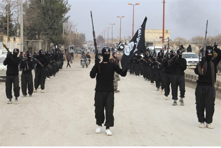 ISIS fighters march in formation (file)