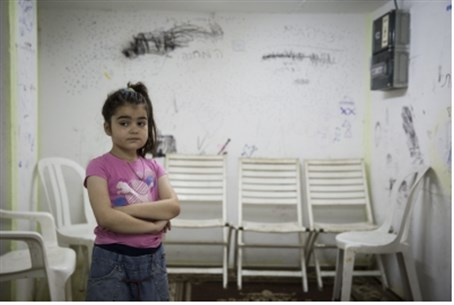 Child in a bomb shelter, Ashkelon.