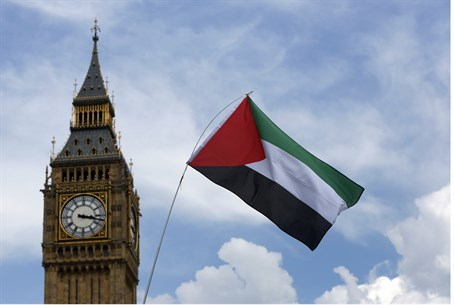 PLO flags in London (file)