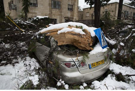 Snowstorm damage in Jerusalem (file)