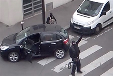Not a 'terrorist'? Charlie Hebdo killers pose for the camera after the slaughter