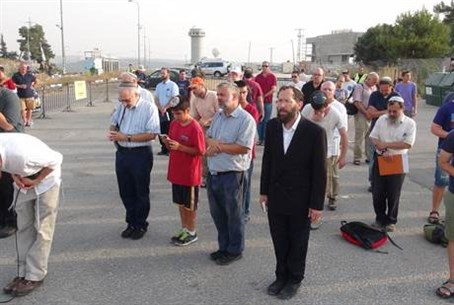 Joint Israeli-Arab prayer session at Gush Etzion junction