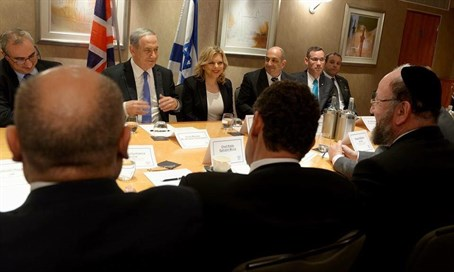 Binyamin Netanyahu meets UK Jewish leaders, including Rabbi Mirvis (R)
