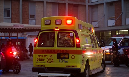 Ambulance carrying terror victim arrives at Hadassah Ein Kerem Hospital (file)