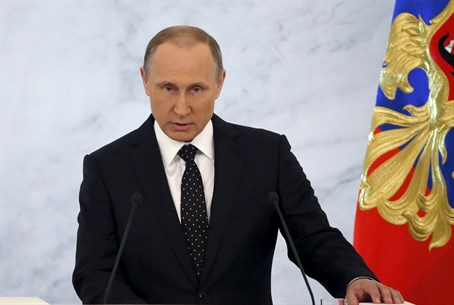 Vladimir Putin during annual state of the nation speech
