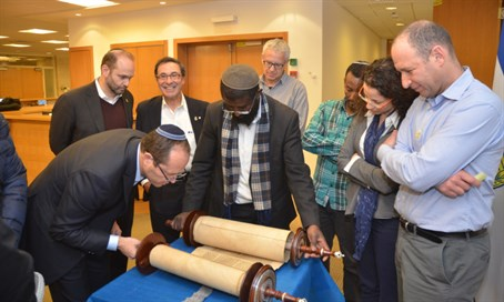 The Torah scroll that was donated, at the Jerusalem Municipality