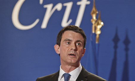 French PM Manuel Valls speaks at the annual CRIF dinner