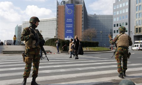 Soldiers guard European Commission in Brussels following bombings