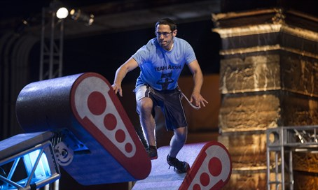 "Akiva Neuman competing in the Philadelphia qualifying round of ""American Ninja Warrior."""