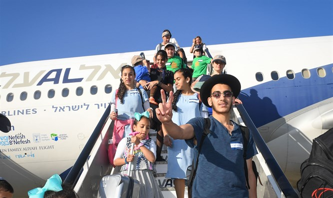 North American olim arrive in Israel (illustration)