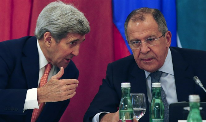 Kerry and Lavrov at meeting in Vienna on Syria
