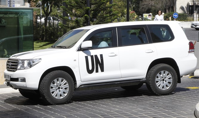 UN vehicle transporting a team of chemical experts