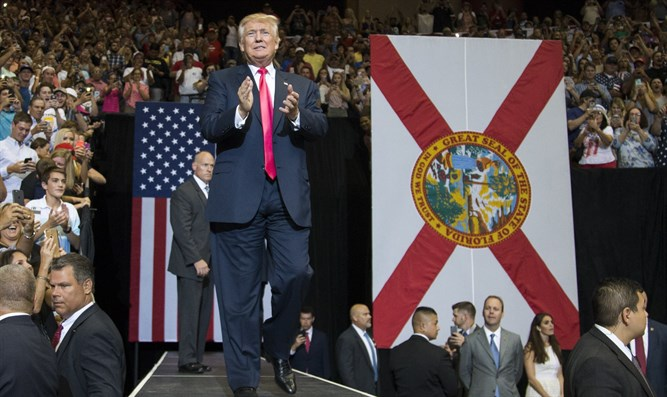 Trump at a rally at the Veterans Memorial Arena in Jacksonville, Fla