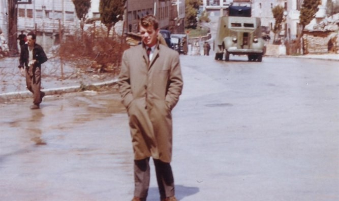 RFK near British checkpoint in Jerusalem street.