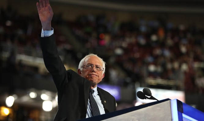 Bernie Sanders speaking on the first day of the Democratic National Convention at the Wells Fargo Center