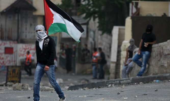 Arab youth holds PLO flag in Jerusalem