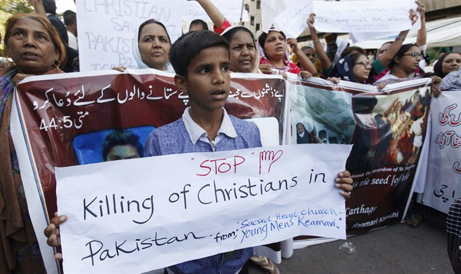 Pakistani Christian protestors after church bombing
