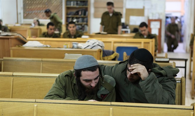 Haredi soldiers learning Torah