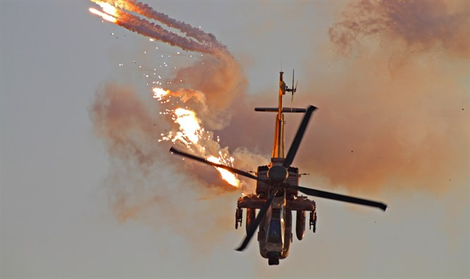 Apache helicopter releases flares