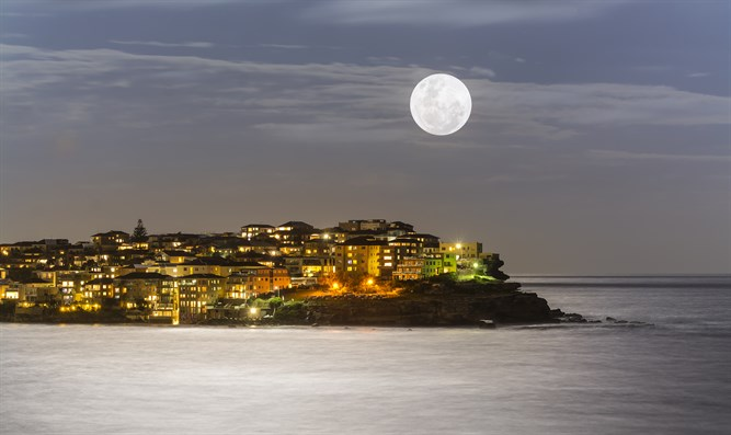 Moon over Bondi Beach