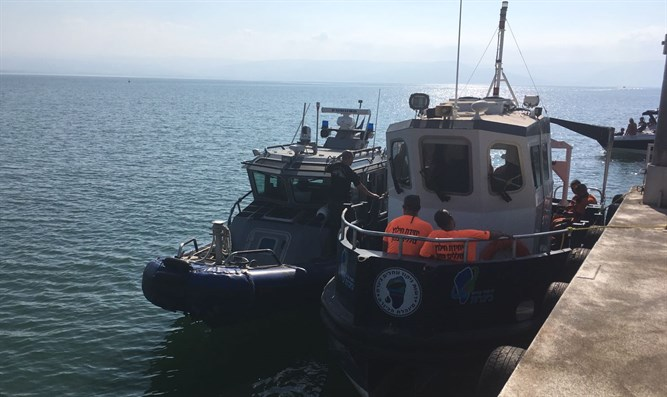 Police search and rescue boat in Kinneret (Galilee)