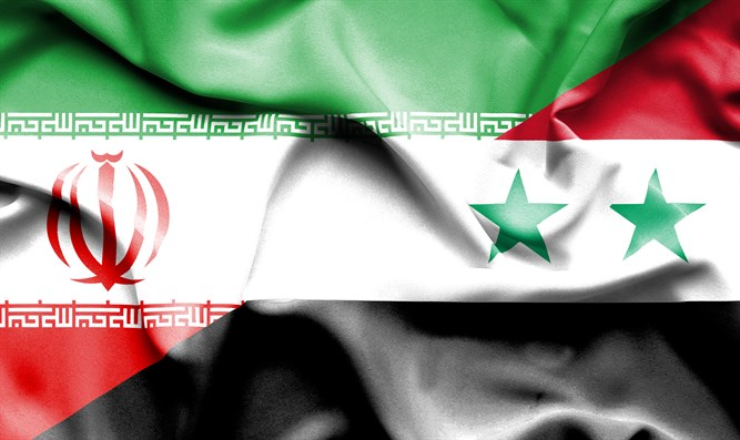 Flags of Iran and Syria