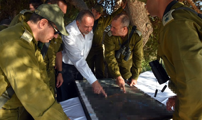 Defense Minister Liberman receives a security briefing