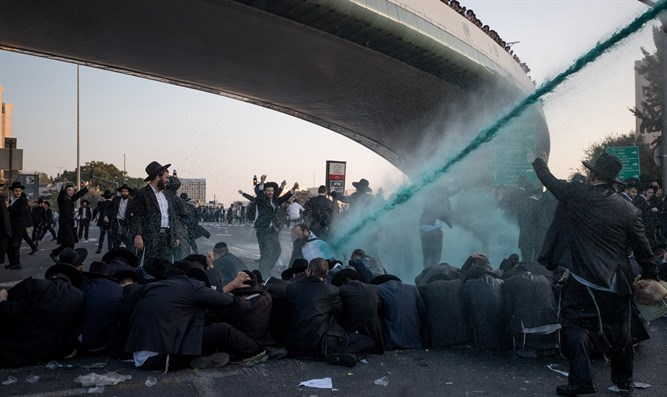 Police using Skunk spray on Jerusalem Faction members