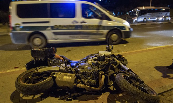 The motorcycle that was attacked